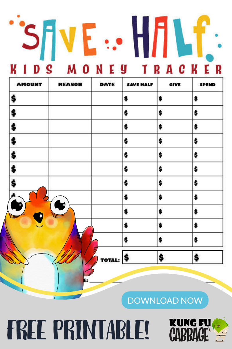 cute character kids budget printable